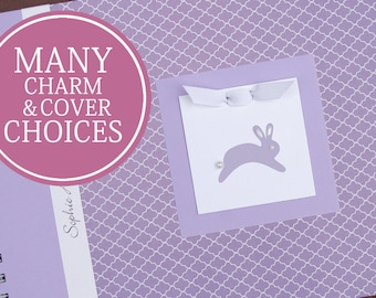 Personalized Baby Book   Bunny Baby Memory Book   Baby Girl Book   Lavender Quatrefoil with Bunny Charm