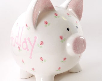 Rosebuds Piggy Bank - Personalized Rosebud Bank - Ceramic Piggy Bank with Flowers - Flower Girl Piggy Bank - with hole or NO hole in bottom