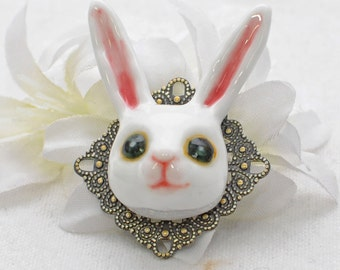 White Rabbit Brooch Mr Ears - Rabbit Jewelry - Bunny Rabbit Pin - Bunny Brooch - Animal Jewelry - Woodland Animal - Bunny Jewelry - Nature