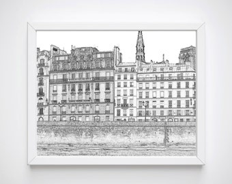Black and White Sketch Prints, Paris Wall Art, Art Printables, Paris Bedroom Prints, Paris Print,Paris Illustrations, Paris Art Prints,