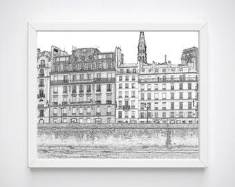Paris Illustrations, Paris Sketches, Black and White Sketch Prints, Paris Wall Art, Paris Bedroom Prints, Paris Print, Paris Art Prints,