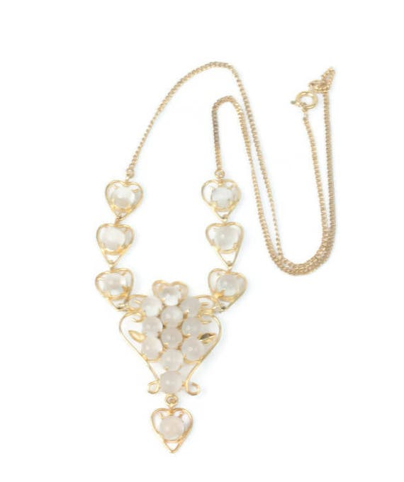 Moonstone Necklace Heart Design Wedding Jewelry Bride Prom Vintage
