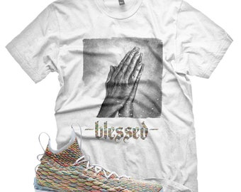 New White BLESSED T Shirt for Lebron 15 Fruity Pebbles XV MultiColor