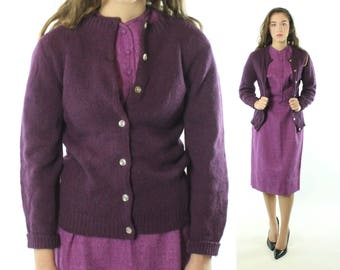 Vintage 50s Plum Cardigan Sweater Wool Knit Button Up 1950s Small S Pinup Rockabilly
