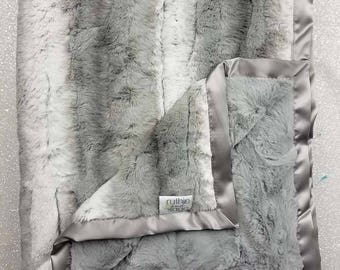 Minky Blanket, Angora Platinum, neutral throw, faux fur soft luxurious throw, Grey and white, Plush Minky, Adult minky Blanket Decor, Silver
