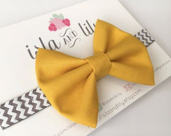 SALE Mustard and Gray Bow Headband - Chevron - Yellow - Charcoal Gray - Baby and Toddler Accessory