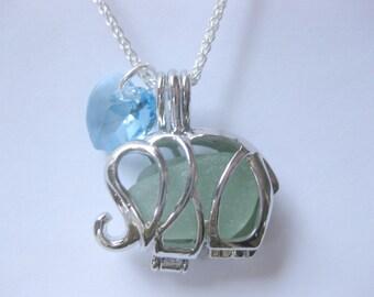 Sea glass boho chic jewelry Birthstone  jewelry Sea glass pendant Elephant Beach glass Jewelry Beach Glass