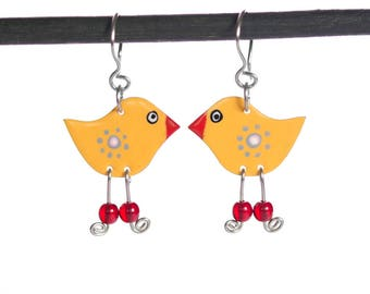 Yellow Birds, Animal Jewelry, Unique Earrings, Enamel Earrings, Unique Jewelry, Kids Earrings, KidsHipster Jewelry, Quirky Jewelry, Teen