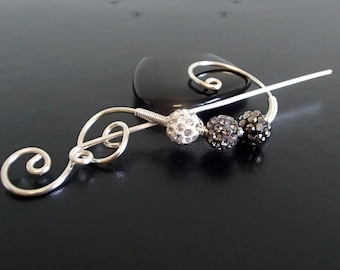 Shawl Pin, Scarf Pin, Brooch crystal pin, Silver pin, knitting accessories Wire brooch, Artisan Jewelry