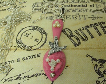 Spoon Necklace, Pink Spoon Necklace, Spoon and Hummingbird Necklace