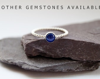 Beaded Gemstone Sterling Silver Ring ~ statement ring, stacking ring, gemstone, unique, beaded, birthstone, solitaire ring, lapis lazuli