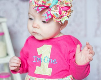 Girls First Birthday Outfit, Shirt or Onepiece, Hairbow, Headband, and Baby Legs, long or short sleeves