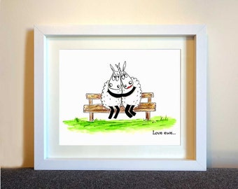 Love ewe.. Cute framed sheep art print, Illustration print, Love you art, Love picture, Sheep gifts, Cute print, Fun art for home,