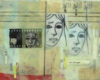 Encaustic art, encaustic collage portrait, illustration, mixed media, feminist art, gemini, face of a lady