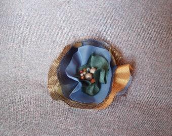 Blue textile brooch