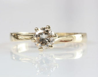Solitaire diamond ring-1/2 carat Diamond Engagement Ring-Yellow Gold Ring-Promise ring- Bridal Jewelry-For her-Solitaire ring setting