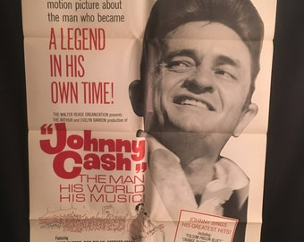 Original 1969 Johnny Cash One Sheet Movie Poster, Country Music, Nashville, Bob Dylan, June Carter Cash, Carl Perkins, The Man His World