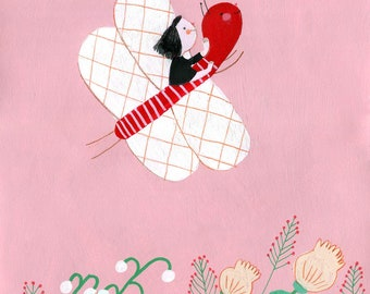 good flight  Original Illustration , home decor, wall decor, wall art, Valentine's Day gifts