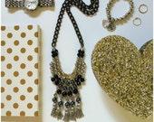 Queenie Black & Gold Necklace