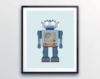 Robot poster, Toddlers room decor, Vintage prints for Kids, Robot nursery art, Prints for baby, Blue kids print, Robot print, Gift for baby
