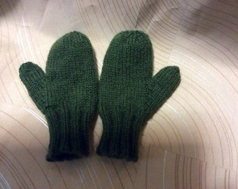 Childs part wool mittens,2-4 yr old, hand knit mittens, Childs mittens,wool acrylic mittens,mittens,hand knit, classic knit partwool mittens
