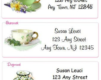 SALE Teacups Personalized Address Labels Elegant and Classy Designs