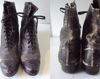 Victorian Lace up Black Leather Granny Boots