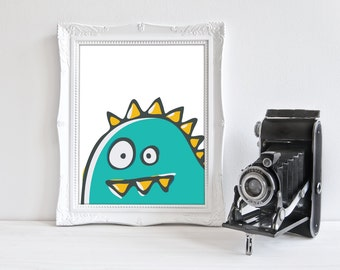 DIY / Little Monster Hand Drawn Art Print / Printable / Instant Download