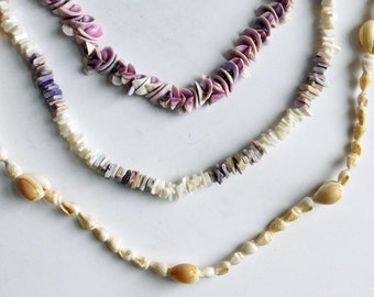 Vintage Lot of Shell Necklaces - Beachy Jewelry Made from Shells and Fragments - Purple, White, Cream - Lot of 3 Beaded Boho Necklaces