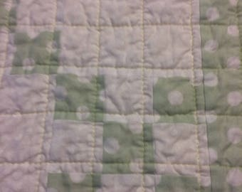 Light Green and White polka dot Irish Chain 9-patch boy or girl baby quilt or throw