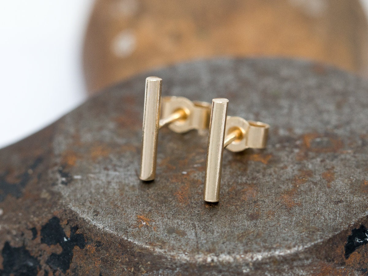 yellow modelled products gold simple solid in and oro earrings stud edgy line vrai ecomm studs