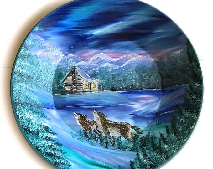 Hand Painted 11 Inch Gold Pans Mountain Winter  Cabin and Wolves