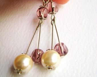 Pink ivory minimalist earrings - Romance on May - Classic soft pink and czech pearl earrings
