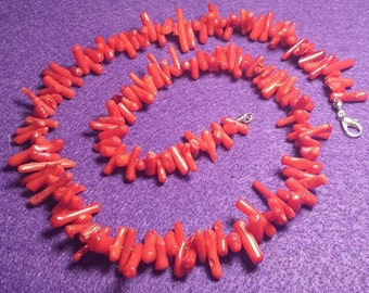 Red-Dyed Bamboo Coral Necklace, Handmade