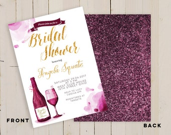 Wine tasting theme bridal shower invitation, wine bottle invitation, burgundy bridal shower invitation, Wine Bachelorette party Invitation