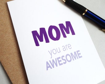 Mothers day card gift for mom mothers day gift awesome mom card minimalist card for mothers