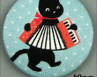 -Cat - music - accordion - (40-65) fabric covered button