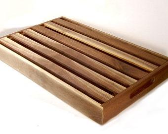 Handmade Slotted Bread Board Two Toned Walnut Wood
