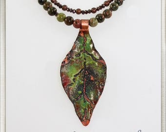 Enameled Leaf with Unakite, Crystal and Copper Beads