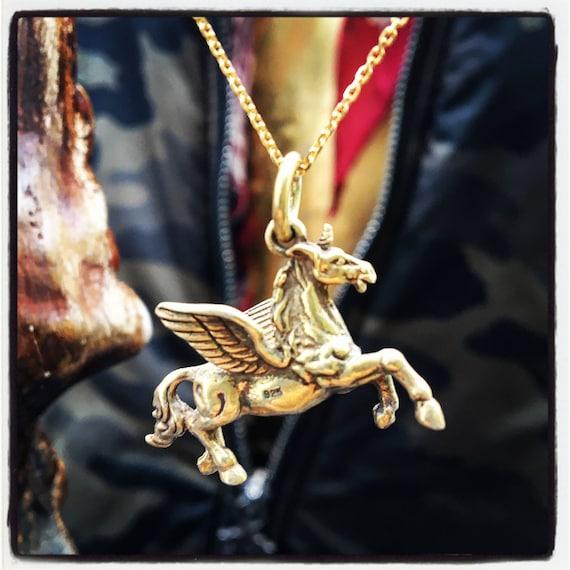 Etherial Jewelry - Rock Chic Talisman Luxury Biker Custom Handmade Artisan Pure Sterling Silver .925 Unicorn Pegasus Designer Pendant