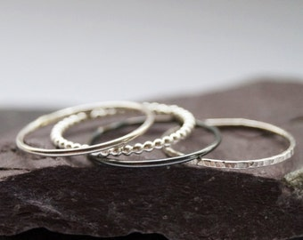 BESTSELLER *** Four Skinny Sterling Silver Stacking Rings - stacking rings, hammered, silver bands, stackable, texture, stocking filler
