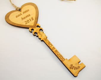 Our first home new skeleton key gift ornament homeowner house 1st wood christmas owner together key sign gift for home owners new apartment