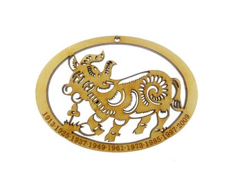 Year of the Ox Ornament - Chinese Zodiac Ornament - Zodiac Sign Ornament - Chinese Astrology Ornament - Zodiac Gift - Chinese New Year