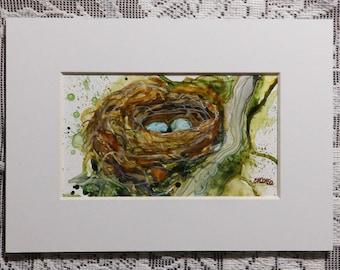Nest Painting, bird nest, bird art, nest with eggs, original watercolor on Yupo