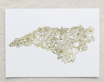 Botanical North Carolina Foil Print
