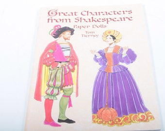 Great Characters From Shakespeare, Paper Dolls, Tom Tierney, Clothes, Illustrated, Softcover, Collection, Vintage, Nostalgia ~ 161203