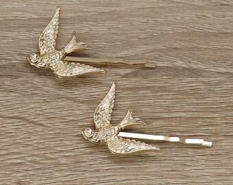 Swallow Bobby Pins, Hair Pins Bridal, Gold Hair Pin, Gold Bridal Hair Pin, Silver Hair Pin, Silver Bridal bobby Pin, Woodland bobby pins
