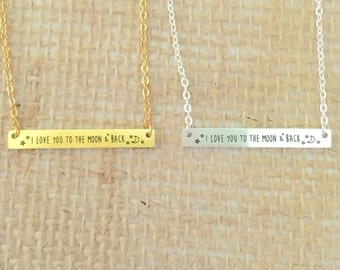 I love you to the moon & back bar Necklace small, gold or silver, short dainty delicate bar necklace