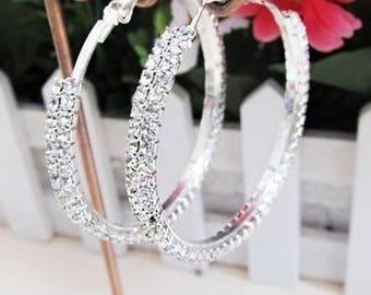 Jewelry #13  Silver Plated Two Row Cubic Zirconia Women's Hoop Earrings