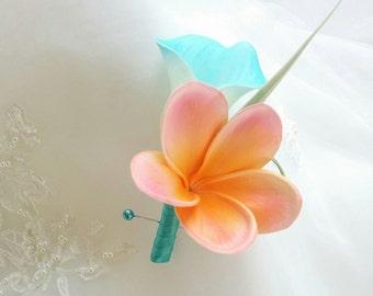 Wedding Natural Touch Aqua Turquoise Calla Lily and Coral Plumeria Silk Wedding Beach Boutonniere